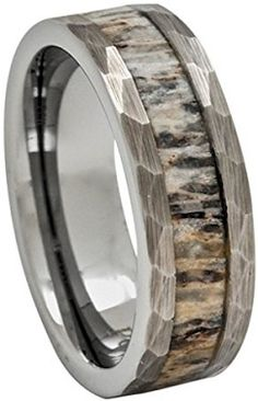 #Jewelry Deer Antler Ring In Tungsten Hammered Finish 8mm Comfort Fit Wedding  Band