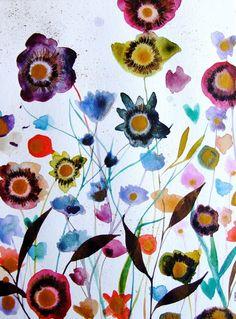 Flowers Watercolor Flowers Painting Garden par CelineArtGalerie