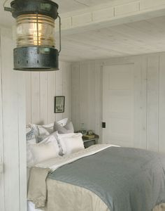 contemporary bedroom in beach house design decorating contemporary Swedish interior design house Cottage Design, Cottage Style, House Design, White Cottage, Loft Design, Cottage House, Cottages By The Sea, Beach Cottages, Country Look