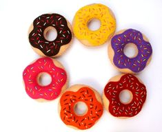 Donut Toy Felt Donut Set of Toys Donuts by sweetycrossstitch Needle Felted Animals, Felt Animals, Needle Felting, Room On The Broom, Felt Baby, Felt Food, Inexpensive Gift, Photographing Kids, Felt Crafts