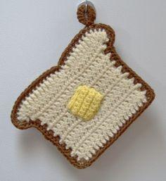 Free patterns.  Bread 'N Butter crochet potholder pattern by JASMIN.