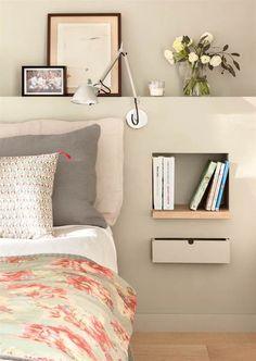 Testiera letto con comodino integrato in cartongesso