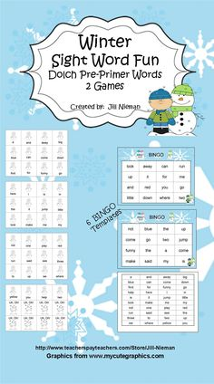 Sight Word Games for Winter: Dolch Pre-Primer Word List