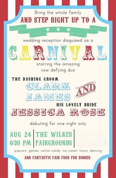 Unbelievable!! Wedding Carnival Invite Front by yourhomebasedmom, via Flickr