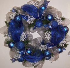blue and silver snowflake wreath