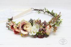 Rustik feathers flower crown Beige brown floral crown Flower hair wreath Wedding flower crown Flower halo Bridal floral crown Rustik crown