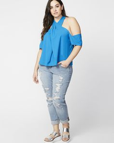 7 Items We Love From RACHEL Rachel Roy Curvy http://thecurvyfashionista.com/2017/06/rachel-rachel-roy-curvy/ A halter silhouette with an off-the-shoulder sleeve detail makes this top from RACHEL Rachel Roy Curve equal parts strong & sexy. It could become your new go-to piece, to pair with denim, dress pants, or shorts! Have you taken a look at the Rachel Rachel Roy Curvy Collection lately? She has more than a few cute plus size summer staples that will breathe life into your summer wardrobe!