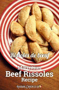 Plateful of Mauritian beef rissoles.