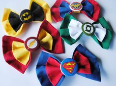 Justice League Hair Bow Clip Cute Idea for girls and also great for boy neck bow-ties