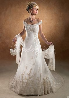 Robe de Mariée Couleur-A-Line/Princess hors-la-Chapelle épaule train satin des robes de mariage