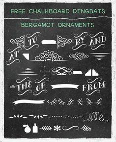 chalkboard fonts free   Free chalkboard dingbat fonts, banners, swirls, etc.   printables