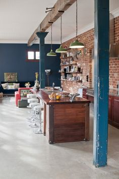 Warehouse Lights and Style The Recycled House - Bedford, WA - eclectic - Kitchen - Perth - Etica Studio Red Kitchen Decor, Eclectic Kitchen, Stylish Kitchen, Kitchen Ideas, Kitchen Photos, Eclectic Style, Exposed Brick Kitchen, Exposed Brick Walls, Open Kitchen