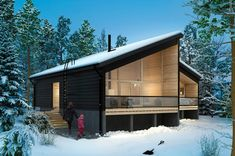 Honka Joiku is an ecological and stylish duplex house for holiday living. Duplex House, Cabin Kits, Log Homes, Scandinavian Style, Ecology, Custom Homes, Terrace, Northern Lights, Cottage