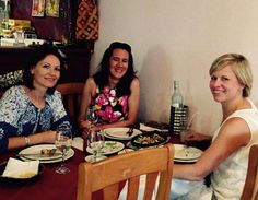 Photo: Out to dinner now - sharing stories and curry with writers Kristin Prescott & Zoya Nojin Writer!!