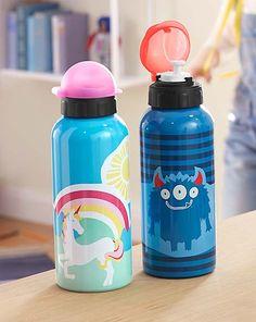 Trinkflasche für 5,95€ - Ein farbenfroher Durstlöscher für kleine Monster und Einhörner. Natürlich auslaufsicher und leicht zu reinigen und mit Namensfeld.