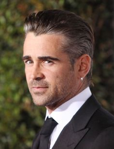 The Slicked-Back Look: Colin Farrell, 2011 Cool Hairstyles For Men, Trending Hairstyles, Slicked Back Hair, Colin Farrell, Famous Stars, 13 Reasons, Man Bun, New Politics, Male Face