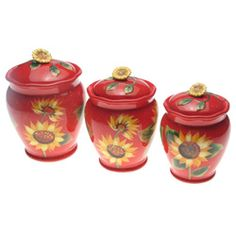 @Overstock - With a beautiful sunflower design set against a bold red background, these hand painted canister sets can add a pop of color to your kitchen. This set includes three food-safe canisters that can be used to store a variety of items. http://www.overstock.com/Home-Garden/Certified-International-Sun-Blossom-3-piece-Canister-Set/5749989/product.html?CID=214117 $68.99