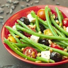 Salade de haricots verts, feta, olives