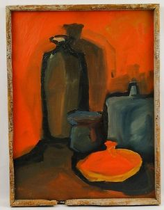 Modernism Mid Century Modern Surrealism Pottery Still Life Oil Painting
