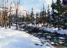 Aspen Snow   ORIGINAL WATERCOLOR  Painting by by LindaHenryArt, $75.00