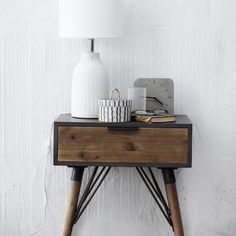 Industrial Side Table | Iron & Wood Table | Bedside Tables | Design Vintage