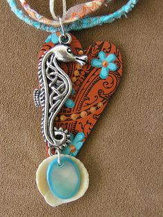 Turquoise & brown   accessory, pendant, necklace, sea horse, bohemian / boheme
