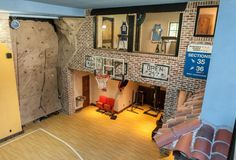 I want this in my house! Indoor basketball court with rock climbing wall, water fountain, weight lifting downstairs, and a cardio room upstairs! Okay ill buy it Home Basketball Court, Basketball Bedroom, Sports Court, Basketball Shoes, Basketball Tricks, At Home Gym, House Goals, Dream Rooms, Cool Rooms