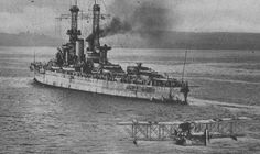 12 in dreadnought USS Arkansas whilst part of Battleship Division 9, supporting the British Grand Fleet at Scapa Flow in 1918.  She was to serve throughout WW2 before being expended as a target in the 1946 nuclear tests at Bikini atoll.