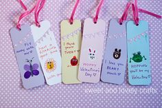 Thumbprint Valentine Day bookmarks from Sweet and Lovely Crafts