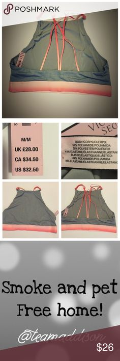 🚨FINAL MARK DOWN 🆕Victoria's Secret bralette NWT 📦 Same day shipping (excluding Sun/holidays or orders placed after P.O. Closed) ❓Please ask any questions prior to buying. I want you to be 💯% Happy❣  PRICE FIRM (unless bundled). NWT gray material contrasts with coral ombré in this beautiful bralette. Wear as a crop top by itself or underneath your favorite open back top to show off sexy strappy back. See second photo for material contents. Smoke/pet free home. Flat measurements: elastic…