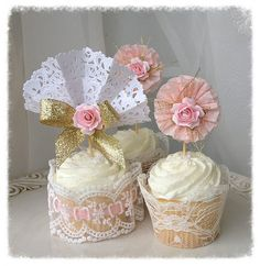 Beautiful toppers made of folded paper lace, crepe paper ruffles, gold threads and a pretty pink rose. These toppers will make lovely desserts at a birthday party, tea party or even a shower.  Treat mom to something lovely this Mothers Day