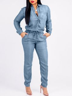 3acda6c50ee Denim Long Sleeve Pocket Drawstring Jumpsuit