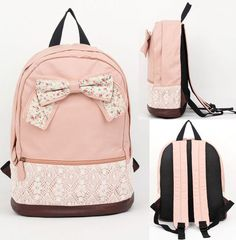 "COLORS: Light Pink, Beige,Brown Material: Leather & Canvas  Condition: 100% Brand New  Size: 12"" Width x 15.1"" Height x 6.4"" Depth inch / 31x39x17cm  Style: Fashion  Package: 1x Backpack"