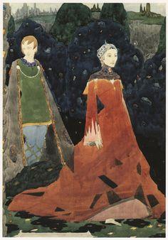 "Irish Artist Harry Clarke , 1928, design for panel, based on Yeats' ""Countess Cathleen""- 50 Watts"