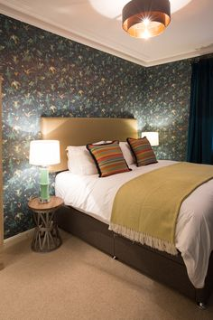 Lower ground floor Hummingbirds room, it's very cocoon like with dark green velvet curtains Velvet Curtains, Holiday Accommodation, Green Velvet, Hummingbirds, Ground Floor, Flooring, Luxury, Dark, Bed