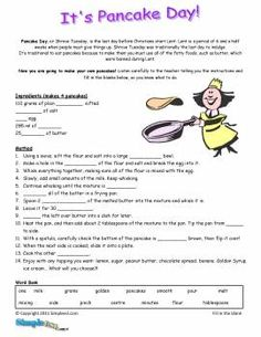 Looking for a Reading Comprehension Worksheets Esl. We have Reading Comprehension Worksheets Esl and the other about Benderos Printable Math it free. Pancake Day Worksheets, Printable Math Worksheets, Pancake Day Printables, Classroom Jobs Free, Shrove Tuesday Activities, Free Reading Comprehension Worksheets, Procedural Writing, Esl Lessons, English Activities