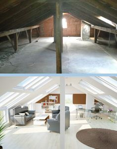 - From the dark attic to the beautiful living room! Renovation before to .- From the dark attic to the beautiful living room! Renovation Before After . Attic Bedroom Designs, Attic Bedrooms, Bedroom Layouts, Girls Bedroom, Attic Loft, Loft Room, Attic Office, Attic Renovation, Attic Remodel