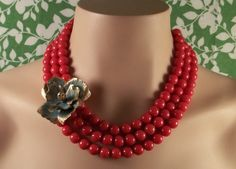 Coral & teal necklace