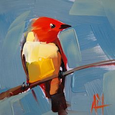 Western Tanager no. 8 original bird oil painting by Angela Moulton rattcreekart