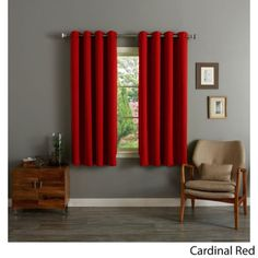 RED-Grommet-Top-Thermal-Insulated-Blackout-64inch-Curtain-Panel-FREE-SHIPPING