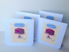 Notecards,Set of Four Blank,'Cake Time',Handmade Notecards with Envelopes £3.00