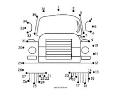 This printable dot to dot puzzle shows the front end of a large semi-truck with big wheels. Free to download and print