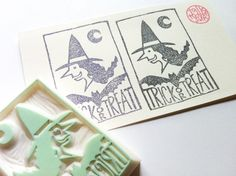 witch stamp. bat stamp. trick or treat stamp. by talktothesun, $30.00