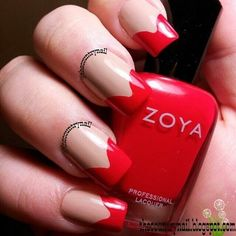 Vintage Style Red Chevron on Bellashoot.com! #Nails #FrenchNails #Redtips #Nailart #Beauty