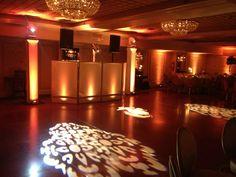 via Instagram : Our 1/2 Diamond Lighting Towers and LED lit white DJ Facade and Custom Monogram Lighting @ The Olde Mill Inn
