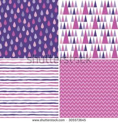 Seamless hipster background patterns in purple, white, magenta and pink. Hand drawn raindrops and stripes, triangle teepee pattern, chevron stripes for kids, textiles, wallpapers, gift wrapping paper.
