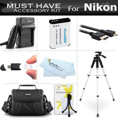 """Essential Accessories Kit For Nikon COOLPIX P900, P610, P600, B700 Wi-Fi Digital Camera Includes Replacement (2200maH) EN-EL23 Battery + Ac/Dc Charger + Micro HDMI Cable + Case + 57"""" Tripod + More"""