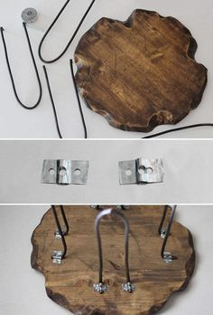 how-to-make-a-rustic-tree-slice-stool-with-diy-live-edge-and-diy-hairpin-legs-up… - DIY Möbel Diy Table Legs, Wood Table Legs, Metal Furniture, Rustic Furniture, Diy Furniture, Furniture Dolly, Rustic Stools, Tree Slices, Creation Deco
