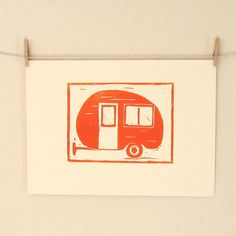 Vintage Travel Trailer in Orange and Cream, A Hand Pulled Linocut Print