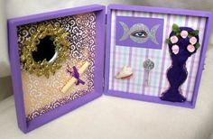 Wiccan Moon Shadow Box Assemblage Mini Altar Shrine for Magick, Esbats, Paganism, Rituals, Mixed Media